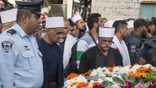 جنازة الشرطي الدرزي سيف زيدان الذي قتل مدافعا عن المصلين في كنيس هار نوف 19 نوفمبر 2014  يانوح-جث AFP/Jack Guez