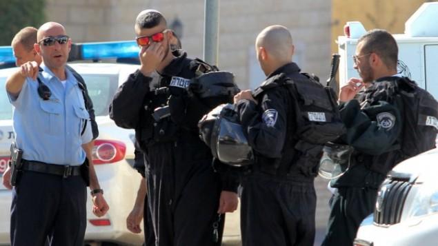 الشرطة في ساحة الشجار الكبير بين الاسلام والدروز في قرية ابو سنان, شمال اسرائيل 15 نوفمبر 2014 (فلاش 90)