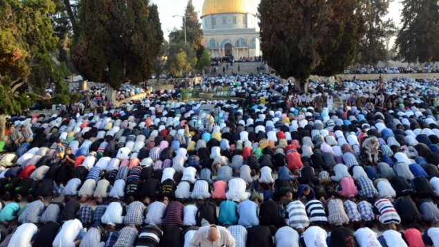 مصلون مسلمون في الاقصى اثناء شهر رمضان 28 يوليو 2014  (سلمان خضر/ فلاش 90)