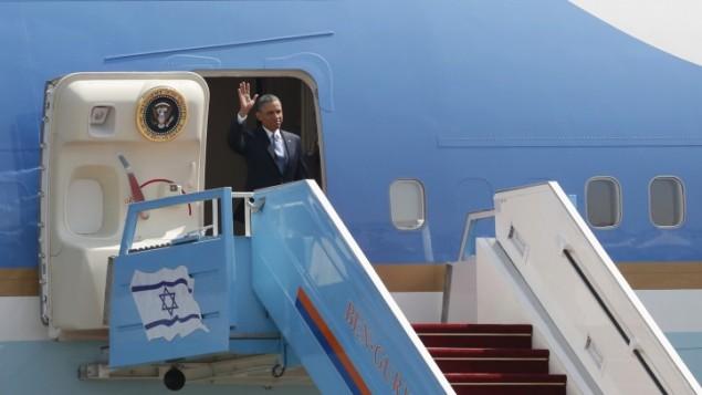 الرئيس الامريكي باراك اوبامل عند وصوله مطار بن غوريون في تل ابيب 20 مارس 2013  Kobi Gideon/GPO / FLASH90