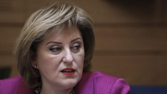 نائبة وزير الداخلية فاينا كرشنباوم  في اجتماع اللجنة المالية في الكنيست، 19 مايو 2014 (فلاش 90)