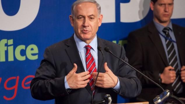 رئيس الوزراء الاسرائيلي بنيامين نتنياهو امام وسائل الإعلام الأجنبية في مؤتمر صحفي عقده في القدس، 17 ديسمبر، 2014 Emil Salman/POOL/FLASH90