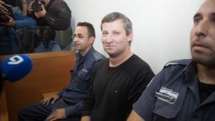وزير السياحة السابق ستاس ميسشنيكوف  في المحكمة يوم الأربعاء 24 ديسمبر، 2014 (فلاش 90)