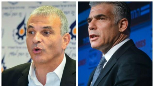 زعيم حزب يش عاتيد، يائير لبيد (يمين) وزعيم حزب كولانو موشيه كحلون  (فلاش90/ القناة الثانية)