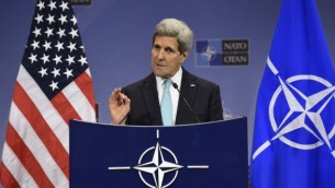 وزير الخارجية الامريكية جون كيري في بروكسل 2 ديسمبر 2014   John Thys/AFP