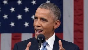 الرئيس الأمريكي باراك أوباما 20 يناير 2015، في مبنى الكابيتول في واشنطن   AFP/POOL/MANDEL NGAN