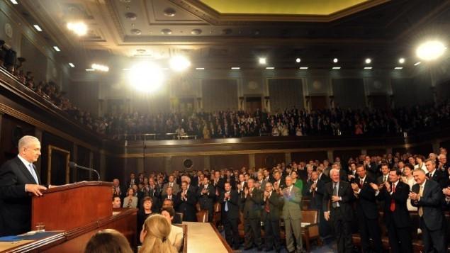 بنيامين نتنياهو امام الكونغرس الامريكي في واشنطن، مايو 2011 Avi Ohayon/GPO/Flash90