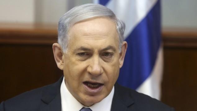 رئيس الوزراء بنيامين نتنياهو يقود الاجتماع الاسبوعي للحكومة في القدس، 4 يناير 2015   Marc Israel Sellem/POOL/Flash90