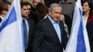 رئيس الوزراء بنيامين نتنياهو في بلدة سديروت الجنوبية، 28 يناير 2015 (Kobi Gideon / GPO)