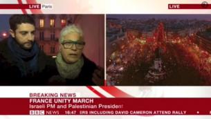 مقابلة ال بي بي سي مع امرأة يهودية خلال المسيرة الجمهورية في باريس 11 يناير 2014 (من شاشة اليوتوب)