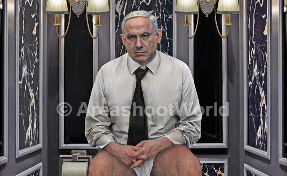 صورة كرستينا جوجيري لرئيس الوزراء بنيامين نتنياهو على المرحاض (screen capture: www.areashoot.net)