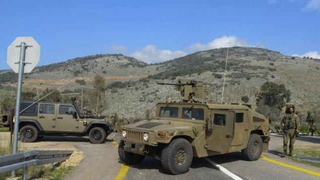 موقع سقوط جنديين اسرائيليين عند قصف حزب الله لدورية عسكرية اسرائيلية بمنطقة مزارع شبعا الواقعة على الحدود اللبنانية-الإسرائيلية، 28 يناير 2015 (Basal Awidat/Flash90)