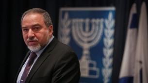 وزير الخارجية اقيغدور ليبرمان خلال افتتاح مؤتمر السفراء الاسرائيليين في اوروبا,  القدس 4 يناير 2015 (قلاش 90)