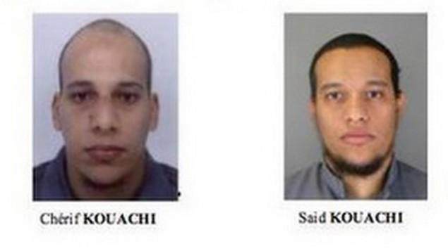 شريف وسعيد كواشي، وهما اثنان من ثلاثة من المشتبه بهم في الهجوم المميت باريس على مكاتب تشارلي ابدو الذي أسفر عن مقتل 12 شخصا يوم الاربعاء 7 يناير 2015  Screenshot/French police