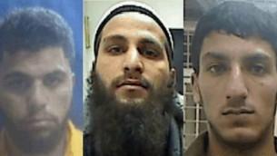 المشتبه بهم خلية الدولة الاسلامية في الضفة الغربية احمد شحادة (يسار) قصي مسودة (مركز) ومحمد زور ( Shin Bet press release)
