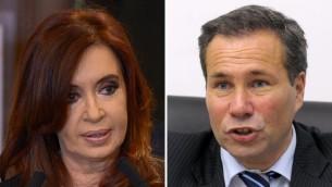 رئيسة الارجنتين كريستينا كيرشنير والمدعي العام الارجنتيني الراحل البرتو نيسمان (JUAN MABROMATA / AFP)