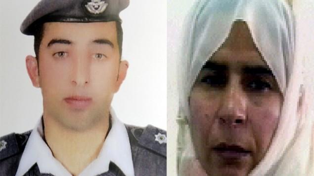 صورة للطيار الاردني معاذ الكساسبة، الذي اختطفه الدولة الاسلامية في 24 ديسمبر 2014 في سوريا، بجانب صورة ساجدة الريشاوي، مجاهدة محكوم عليها بالإعدام منذ عام 2006 (HO / AFP)