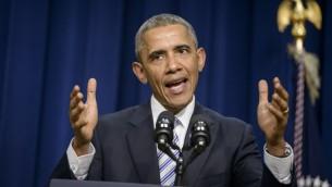 رئيس الولايات المتحدة باراك اوباما يتحدث خلال اجتماع القمة ضد التطرف والعنف في واشنطن، 18 فبراير 2015 (BRENDAN SMIALOWSKI / AFP)