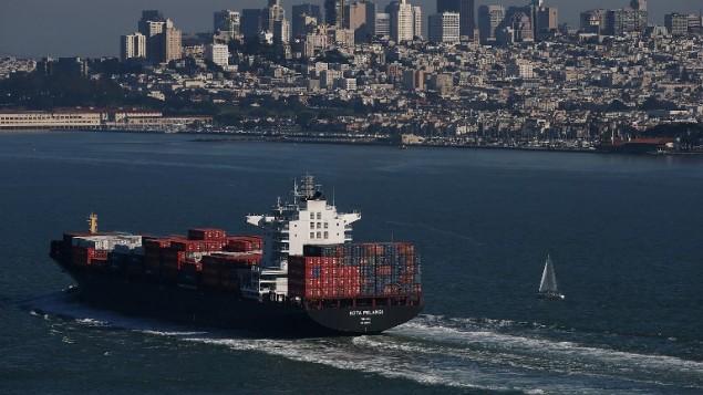 صورة توضيحية لسفينة شحن (JUSTIN SULLIVAN / GETTY IMAGES NORTH AMERICA / AFP)