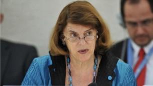 قاضية المحكمة العليا في نيويورك سابقا ماري مكغوان دافيس، التي تم تعيينها في 25 اغسطس للجنة التحقيق للأمم المتحدة بحرب غزة (Courtesy UN/Jean-Marc Ferre)