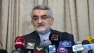 رئيس لجنة الامن القومي والسياسة الخارجية بمجلس الشورى الاسلامي الايراني علاء الدين بروجردي (screen capture:YouTube/PressTVvideos)