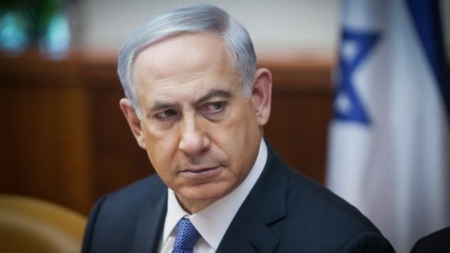 رئيس الوزراء بنيامين نتنياهو، 1 فبراير 2015 (Alex Kolomoisky/Pool)