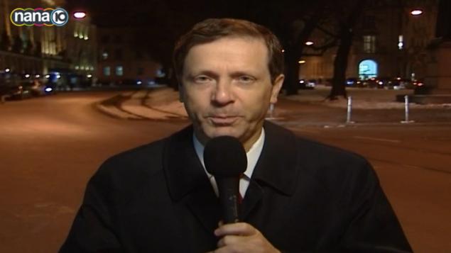 صورة شاشة من مقابلة يتسحاق هرتسوغ مع القناة 10 في 7 فبراير 2015