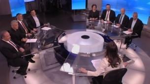 صورة شاشة من المناظرة التلفزيونية بين رؤساء الاحزاب 26 فبراير 2015