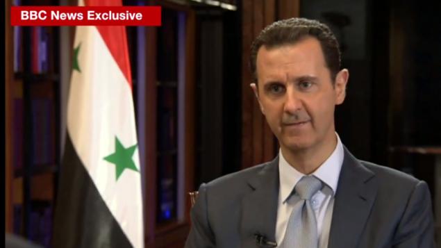 الرئيس السوري بشار الأسد بمقابلة على قناة البي بي سي، 9 فبراير 2015 (YouTube screen capture)