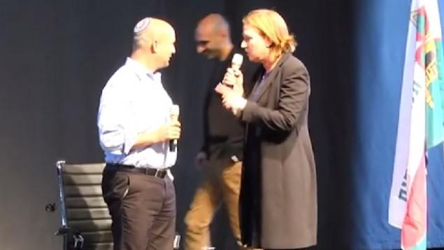 صورة شاشة من فيديو مواجهة بين بينيت وليفني 1 فبراير 2015