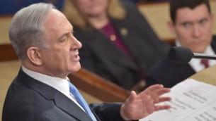 رئيس الوزرا بنيامين نتنياهو خلال خطابه امام الجلسة المشتركة للكونغرس الأمريكي، 3 مارس 2015 (NICHOLAS KAMM / AFP)