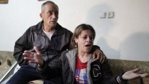 والدي محمد مسلم، الشاب العربي من بيت حنينا في القدس الشرقية الذي اعدمه تنظيم الدولة الإسلامية بتهمة التجسس لصالح اسرائيل، 10 مارس 2015 ( AFP / AHMAD GHARABLI)