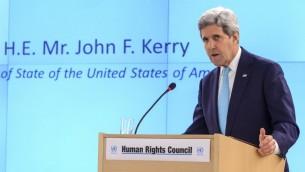 وزير الخارجية الأمريكي جون كيري في اليوم الأول لاجتماع مجلس حقوق الانسان للأمم المتحدة في جنيف، 2 مارس 2015 (FABRICE COFFRINI / AFP)