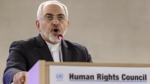 وزير الخارجية الإيراني محمد جواد ظريف في كلمة امام مجلس حقوق الانسان الدولي في جنيف، 2 مارس 2015 (FABRICE COFFRINI / AFP)