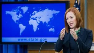 الناطقة باسم وزارة الخارجية الأمريكية جين بساكي(AFP/Paul J. Richards)