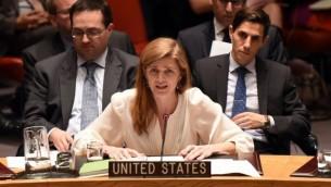 السفيرة الاميركية لدى الامم المتحدة سامنتا باور خلال جلسة لمجلس الأمن، 22 ديسمبر 2015 (Don Emmert/AFP)