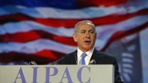 رئيس الوزراء بنيامين نتنياهو خلال خطابه امام المؤتمر السنوي للجنة العلاقات الخارجية الاميركية - الاسرائيلية (ايباك)، 2 مارس 2015 (MARK WILSON / GETTY IMAGES NORTH AMERICA / AFP)