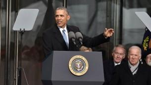 الرئيس الأمريكي باراك أوباما في كلمة القاها في بوسطن لمناسبة افتتاح معهد تيد كينيدي، 30 مارس 2015 (Paul Marotta/Getty Images/AFP)