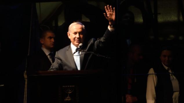 رئيس الوزراء بنيامين نتنياهو خلال خطاب في تل ابيب، 15 مارس 2015 ( Gili Yaari/FLASH90)