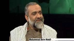 اللواء محمد رضا نقدي، قائد قوات التعبئة (الباسيج) التابعة للحرس الثوري الإيراني (screen capture: YouTube/PresTVGlobalNews)