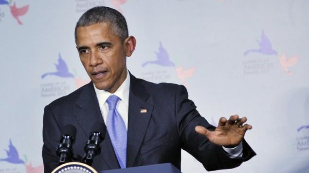 الرئيس باراك اوبما خلال مؤتمر صحفي في قمة الأمريكيتين في بنما، 11 ابريل 2015 (MANDEL NGAN / AFP)