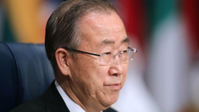 الأمين العام للأمم المتحدة بان كي مون خلال المؤتمر الدولي الثاني للمساعدات الإنسانية لسوريا في الكويت، 31 مارس 2015 (STR / AFP)