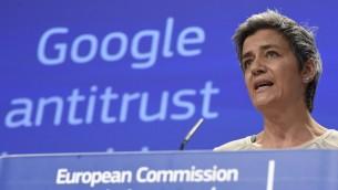 لمفوضة الاوروبية المكلفة ملف غوغل مارغريتي فيستاغر، 14 ابريل 2015 (JOHN THYS / AFP)