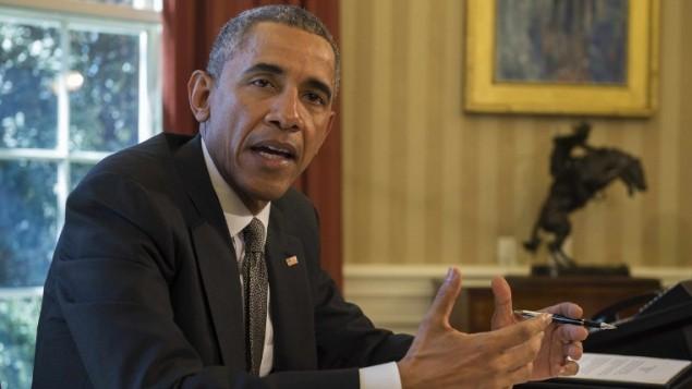الرئيس الأمريكي باراك أوباما يتحدث للصحافة في البيت الأبيض في العاصمة واشنطن في 31 مارس، 2015. (AFP/JIM WATSON)