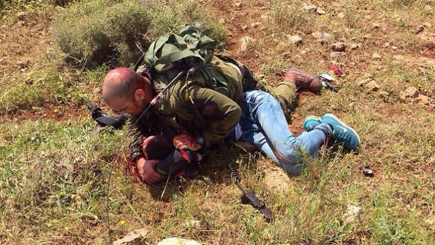 جندي إسرائيلي يسيطر على شاب فلسطيني قام بعطن جندي آخر بالقرب من الجدار الفاصل في الضفة الغربية، 2 ابريل، 2016. (IDF spokesperson)