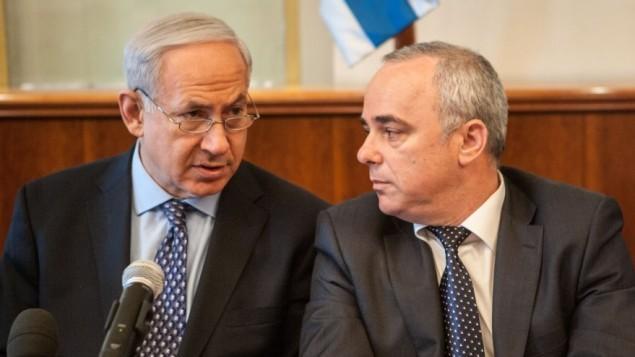رئيس الوزراء بنيامين نتنياهو والوزير يوفال شتاينتس (Uri Lenz/Flash90)