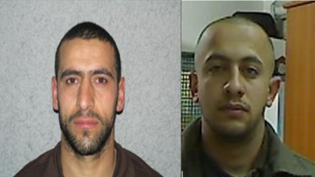 داوود عدوان (يسار) ومعن شاعر (يمين)، المشتبهان الذان ورد انهما خططا لتنفيذ هجوم مسلح ضد جنود اسرائيليين في شهر مارس 2015 (Shin Bet)