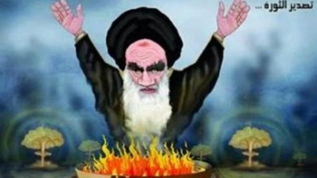 رسم كاريكاتوري نُشر في صحيفة سعودية في أعقاب اتفاق الإطار في لوزان بشأن برنامج إيران النووي. (MEMRI)