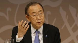الأمين العام للأمم المتحدة بان كي مون في 12 أبريل، 2015. (Karim Jaafar/al-Watan Doha/AFP)