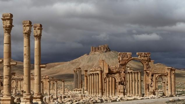 (ارشيف) مدينة تدمر الأثرية في سوريا، 14 مارس 2014 (JOSEPH EID / AFP)